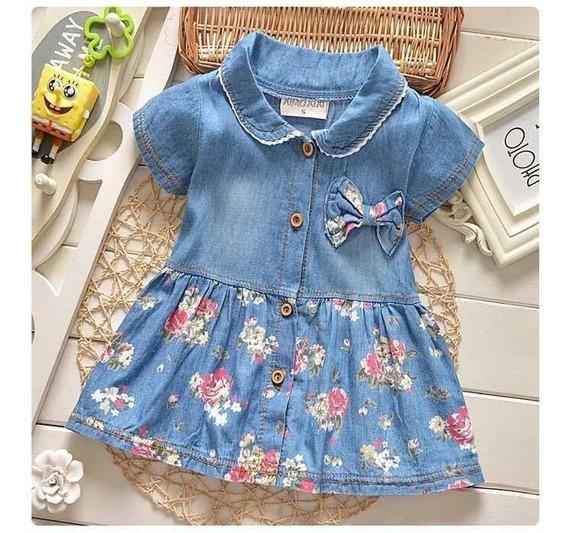 Vestido De Bebê Jeans Menina Importado