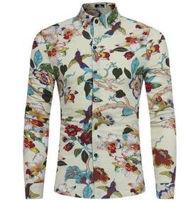 Camisa Social Feminina Floral Slim Moda C/ Botões Algodão
