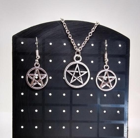 Colar Pentagrama + Brincos Wicca Supernatural Frete Grátis
