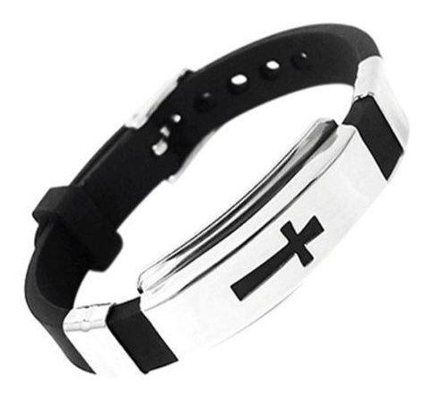 Pulseira Unissex Cruz Aço Inox Silicone Preta Bracelete