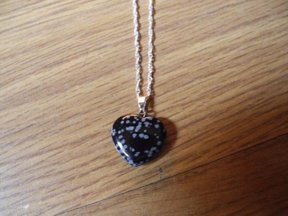 Colar Prateado Coração Pedra Natural Obsidiana Gargantilha