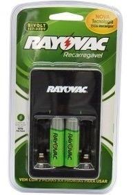 Carregador De Pilhas Inteligente Rayovac Bivolt + 2 Pilhas