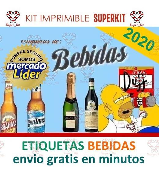 Kit Imprimible Etiquetas Bebidas 2019 Editables 2x1