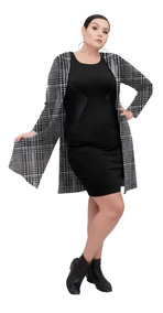 Roupa Feminina Maxi Casaco Jaquard Xadrez Plus Size