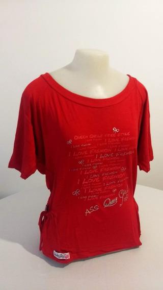 Blusa Feminina Estampada - Gola Canoa - Vermelha