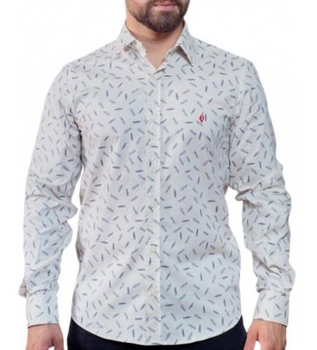 Camisa Estampada: Penas - Lino A Piuma