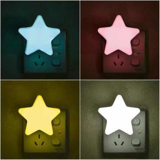 Luz Nocturna Lampara Estrella Bebe Iluminación Sensor Enchuf