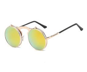 3c294fcfe Óculos Sol Redondo Retrô Flip Duplo Steampunk Collor Dourado
