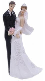 Topo De Bolo Casamento Casal Noivos Noivinhos Resina 14 Cm
