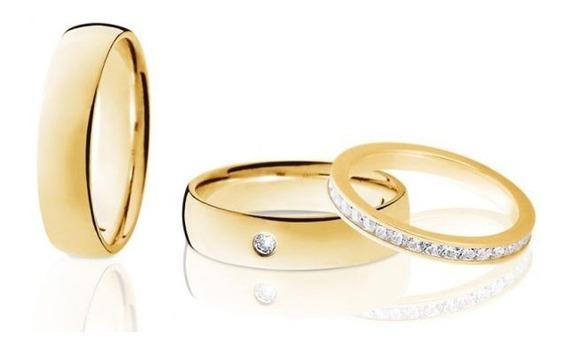 Alianças Ouro 18k Abauladas E Aparador 5mm 12gr 41 Diamantes