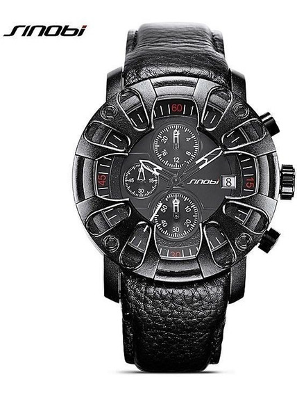 Relógio Sinobi Masculino Sport Luxo Pulseira Couro Caixa Lx