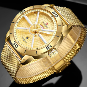 Relógio Masculino Top Esportivo Militar Dourado