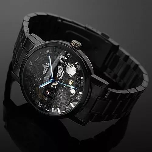 Relógio Esqueleto Automático Preto