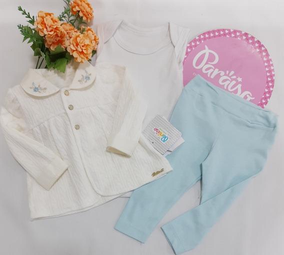 Conjunto Paraiso Moda Bebe Menina Pagão Luxo 3 Pçs Ref 8014