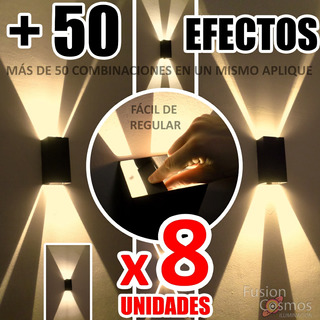 Difusor Interior Regulable En 50 Fx Luz- Pack X 8 Iluminacion Transformable Efecto Pared Living Comedor Hierro Bipin Fx