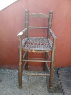 Antigua Silla Bebe Madera Mimbre 42 X 33 X 89 Alto Reciclar