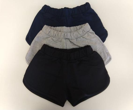 Kit 3 Shorts Feminino Liso Moletom Rovitex