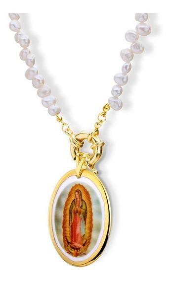 Colar Pérolas Fecho Bóia E Pingente Nossa Senhora Guadalupe