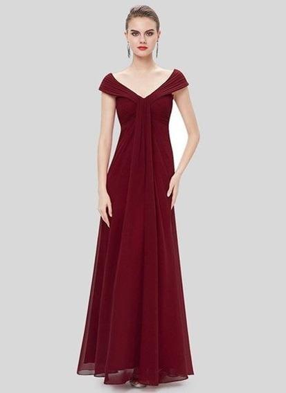 Vestido De Gala Burdeo De Gasa