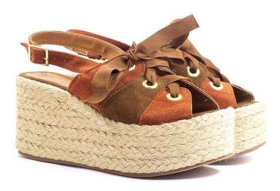 Sandália Plataforma Anabela Caramelo Marrom Com Cadarço
