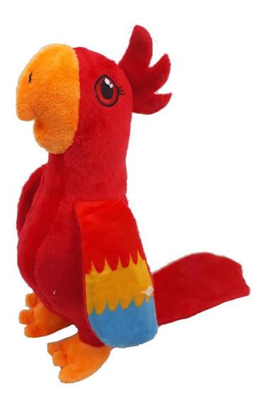 Arara Vermelha Pelúcia 23 Cm Antialérgico Lavável Papagaio