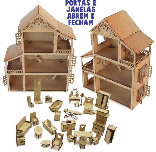 Casa Casinha Boneca Polly +27 Mini Móveis Poli Mdf Madeira