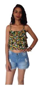 Blusa Cropped Feminina Ciganinha Estampada Floral Verão