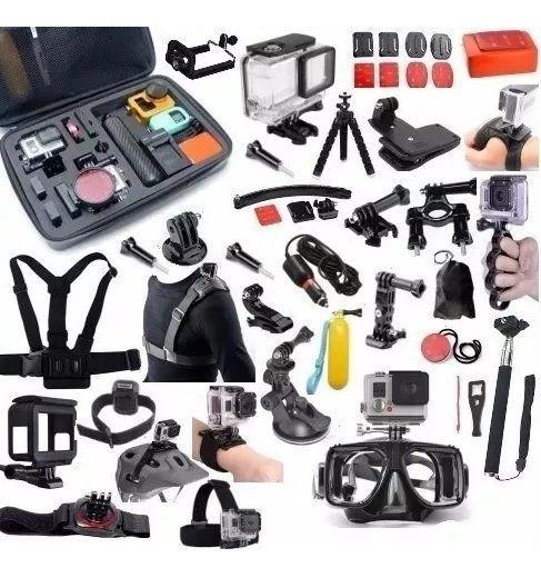 Kit Gopro 7 Case Carregador Bateria Peliculas Estanque Tripé