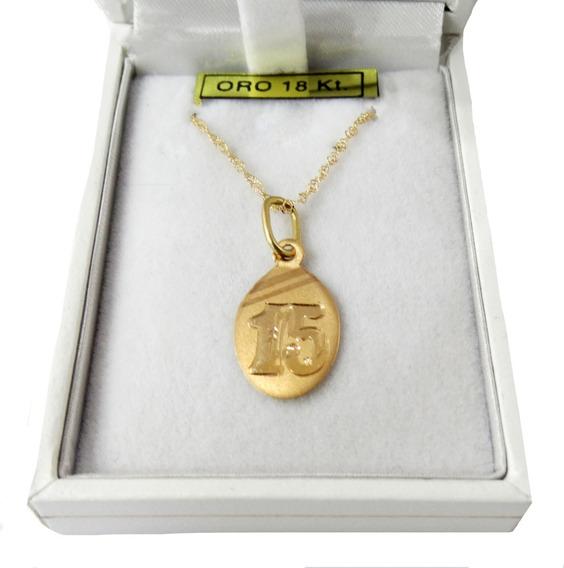 Maldito productos quimicos Dempsey  Conjunto Dije Medalla 15 Años Oval Oro 18k. 18mm Con Cadena | Mercado Libre