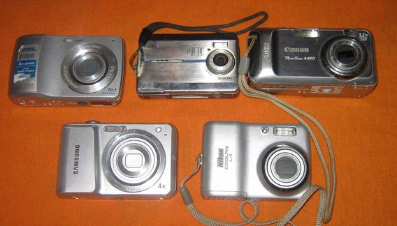 Lote De 5 Cameras Digitais Antigas C/ Defeito
