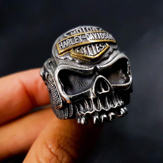 Anillo Craneo Calavera Harley Davidson Acero Inox