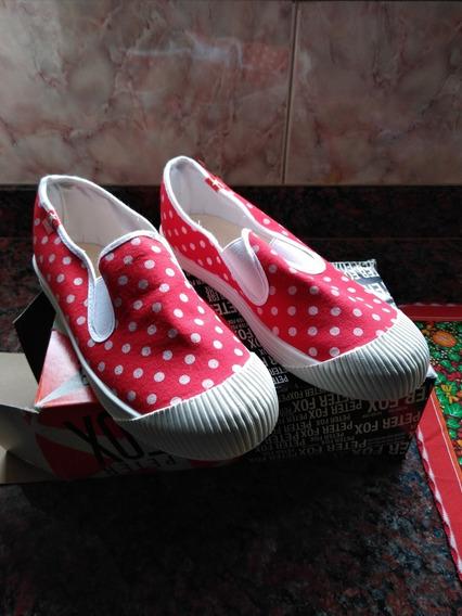 Zapatillas De Lona Rojas Y Blancas De Dama, Talle 38
