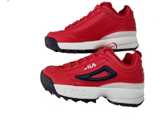 Tenis Fila Disruptor Li, Rojos Con Azul