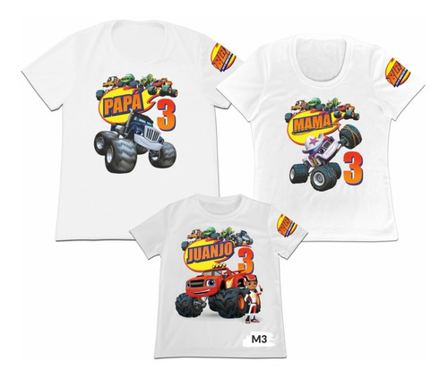 Camiseta Set 3 Blaze And The Monster Machines Papa Mama Hijo