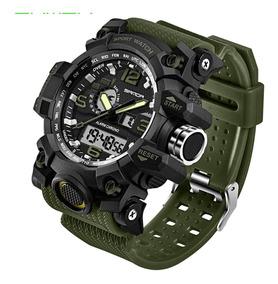 Relógio Masculino Led Digital Verde Musgo Caixa Grande