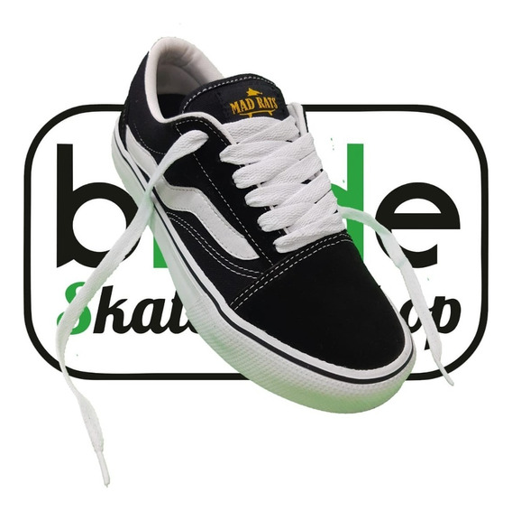 Tênis De Skate Old School Mad Rats Preto Branco Original