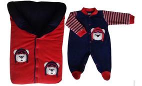 Saída De Maternidade - Saco - Vermelho/marinho Urso Aviador