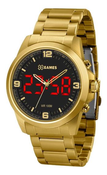 Relógio X-games Masculino Led Xmgsa007 P2kx Digital Dourado