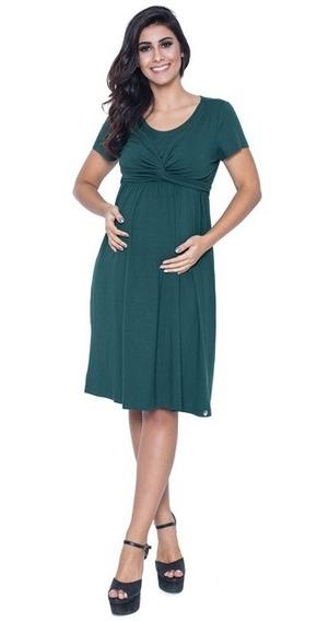 Vestido Gestante De Amarração Amamentação Verde
