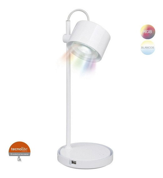 Lampara Led Escritorio Blanco Con Control Multicolor 7dttlle