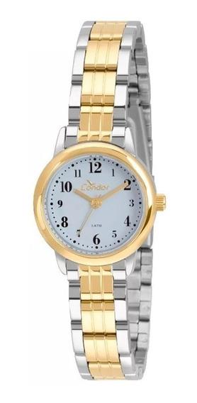Relógio Condor Feminino Dourado E Prata Bicolor Pequeno Nfe