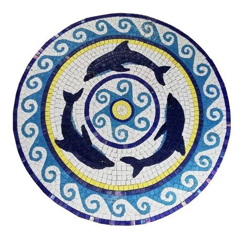 Imagen 1 de 10 de Mosaico Figura Medallón Delfines P. Alberca De 1.00 Mt. Dmt.