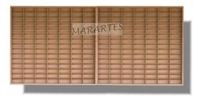 Estante Em Mdf Cru 1.64 210 Nichos C/ Porta Para Carrinho