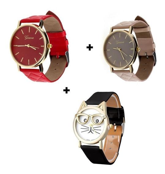 Kit Relógios Femininos Adolescentes E Adultos Bonito Barato