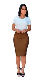 Saia Cirre Moda Feminina Evangélica Ou Social Com Zíper