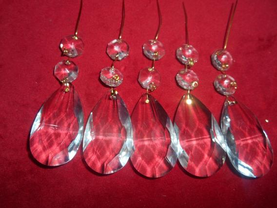 Caireles Cristal Almendra5cm X5 Botones 2 Armado Dorado