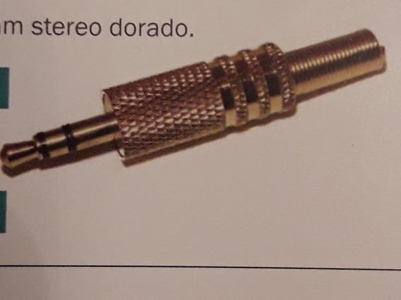 Ficha Plug Macho 3.5 Mm Stereo Metálica Dorada