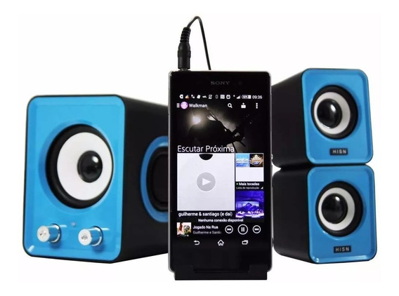 Caixa De Som Com Subwoofer Para Pc Note Net Tablet E Celular