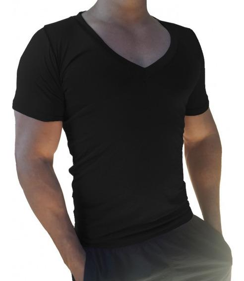 Camisa Camiseta Masculina Slim Fit Basica Gola V Cavada.