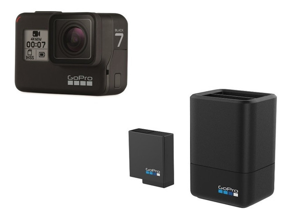 Kit Gopro Hero 7 Black + Carregador Duplo + Bateria Extra